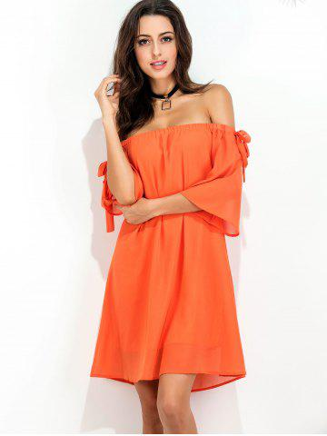 New Off The Shoulder Bowknot Short Chiffon Dress - S ORANGE RED Mobile