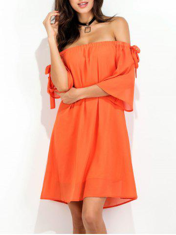 Outfits Off The Shoulder Bowknot Short Chiffon Dress - S ORANGE RED Mobile