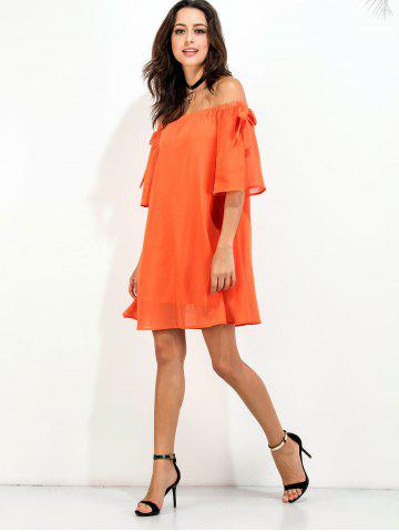 Chic Off The Shoulder Bowknot Short Chiffon Dress - S ORANGE RED Mobile