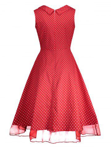 Online Sweetheart Neckline Polka Dot Pin Up Prom Dress - L RED Mobile