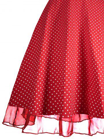 Shop Sweetheart Neckline Polka Dot Pin Up Prom Dress - L RED Mobile