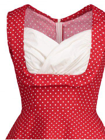Shop Sweetheart Neckline Polka Dot Pin Up Prom Dress - XL RED Mobile