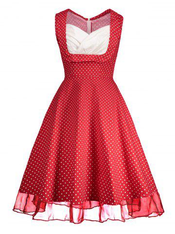 Store Sweetheart Neckline Polka Dot Pin Up Prom Dress - 2XL RED Mobile