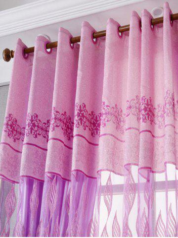 Outfits Window Screen Flower Sheer Fabric Tulle with Pendant Decor - W39 INCH*L79 INCH PINK Mobile