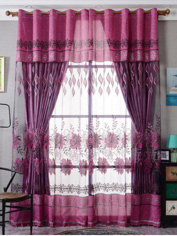 Chic Window Screen Flower Sheer Fabric Tulle with Pendant Decor PURPLISH RED W39 INCH*L79 INCH