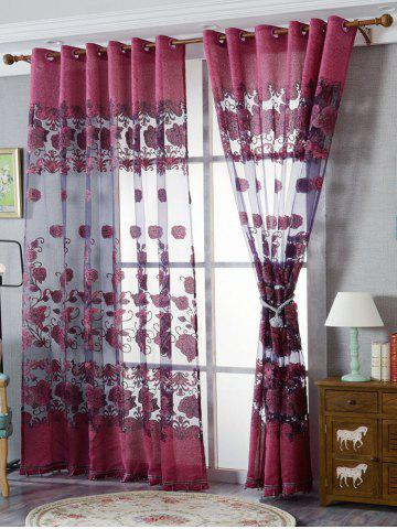 European Sheer Window Flower Tulle Curtain For Living Room - Purplish Red - W39 Inch*l98 Inch
