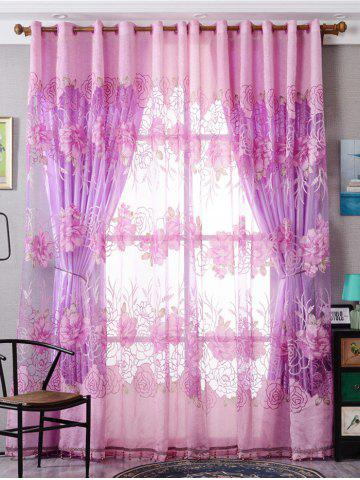 Unique Europe Flower Embroidered Sheer Window Screen Tulle - W39 INCH*L79 INCH PINK Mobile