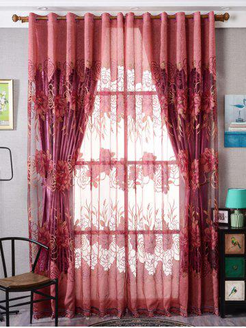Shops Europe Flower Embroidered Sheer Window Screen Tulle - W39 INCH*L79 INCH BRICK-RED Mobile
