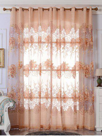 Fancy Europe Flower Embroidered Sheer Window Screen Tulle - W39 INCH*L79 INCH LIGHT BROWN Mobile