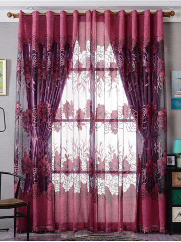 Europe Flower Embroidered Sheer Window Screen Tulle - Purplish Red