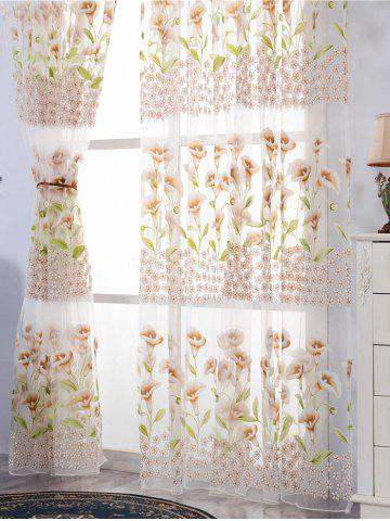 Shop Calla Lily Embroidery Sheer Window Tulle For Bedroom - W39 INCH*L79 INCH KHAKI Mobile