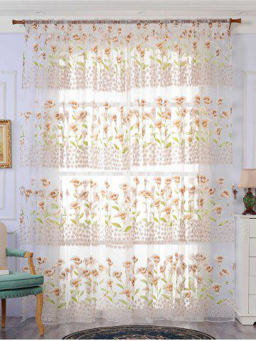 Trendy Calla Lily Embroidery Sheer Window Tulle For Bedroom - W39 INCH * L79 INCH KHAKI Mobile