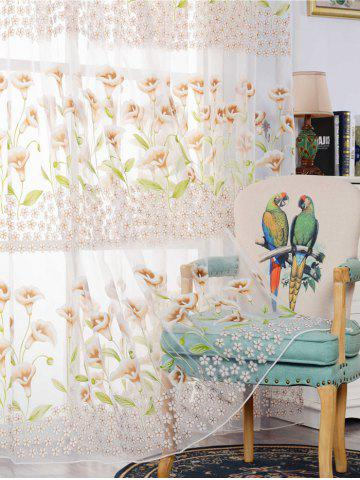 Unique Calla Lily Embroidery Sheer Window Tulle For Bedroom - W39 INCH*L79 INCH KHAKI Mobile