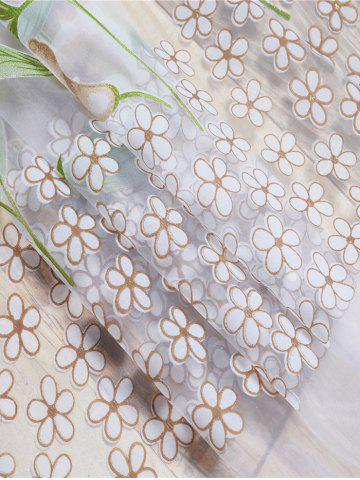 Latest Calla Lily Embroidery Sheer Window Tulle For Bedroom - W39 INCH*L79 INCH KHAKI Mobile