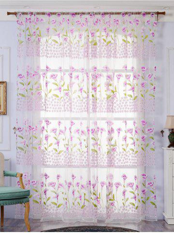 Calla Lily Embroidery Sheer Window Tulle For Bedroom - Light Purple - W59 Inch*l98 Inch