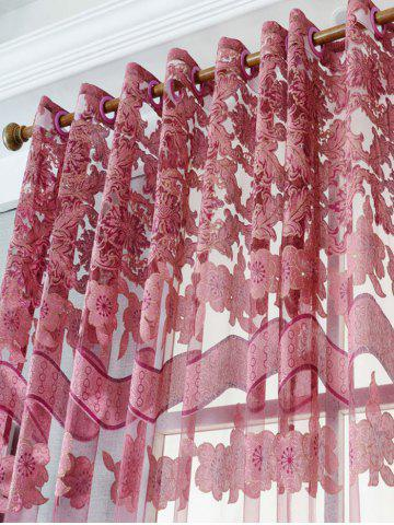 Affordable Jacquard Sheer Tulle Curtain Window Door Screen - W39 INCH*L79 INCH DARK RED Mobile