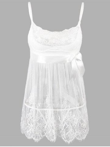 Lace Plus Size Slip Badydoll Dress - White - 5xl