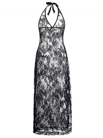 Plus Size Halter Neck Lace Maxi Backless Sheer Dress - Black - 6xl