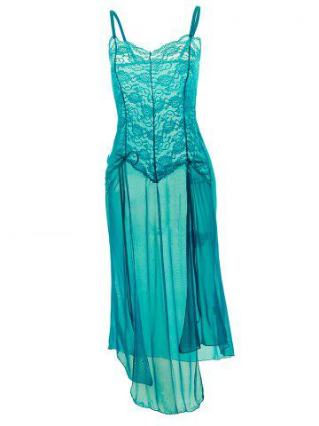 Fancy Plus Size Maxi Lace Top Sheer Slip Dress - 6XL GREEN Mobile