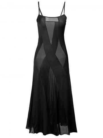 Online Sheer Plus Size Slip Bandage Long Party Dress BLACK 6XL