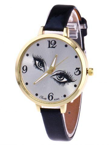 Outfits YBOTTI Faux Leather Quartz Watch with Pretty Eyes BLACK