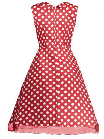 Affordable Retro Sleeveless Polka Dot Pin Up Dress - XL RED Mobile