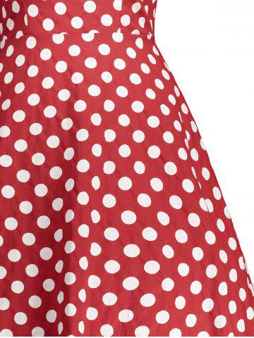 Store Retro Sleeveless Polka Dot Pin Up Dress - XL RED Mobile