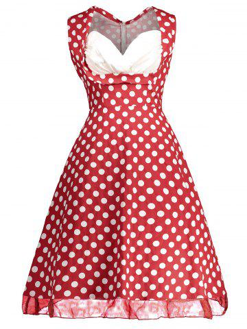 Cheap Retro Sleeveless Polka Dot Pin Up Dress - XL RED Mobile