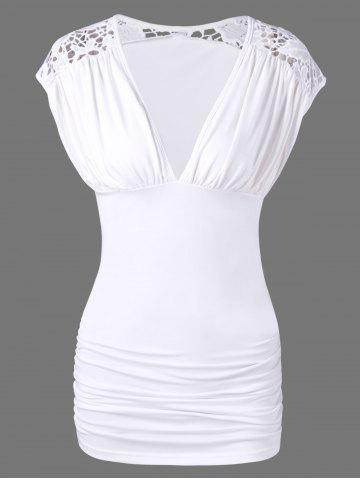 Hot Lace Trim Low Cut Ruched Blouse WHITE XL