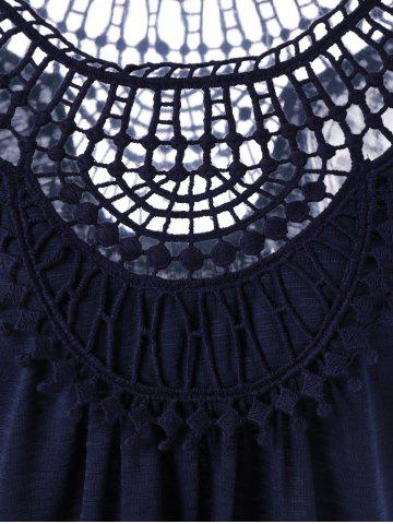 Trendy Lace Insert Hollow Out Tee - M PURPLISH BLUE Mobile