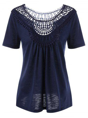 Shops Lace Insert Hollow Out Tee - M PURPLISH BLUE Mobile