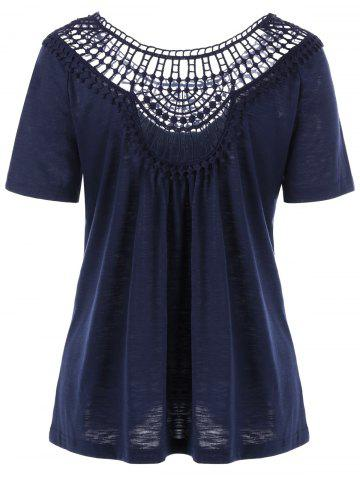 New Lace Insert Hollow Out Tee - L PURPLISH BLUE Mobile