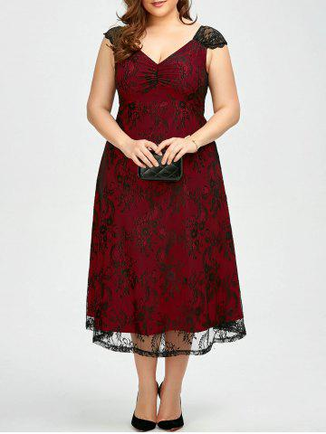 Vintage Plus Size Lace Prom Formal Evening Dress - Deep Red - Xl