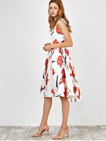 Cheap Sleeveless Flower Tea Length Dress - M BLACK AND WHITE AND RED Mobile