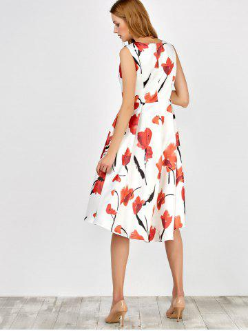 Outfit Sleeveless Flower Tea Length Dress - M BLACK AND WHITE AND RED Mobile