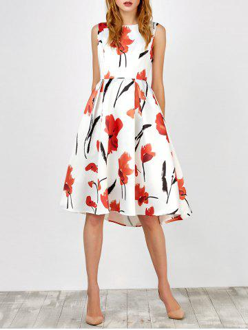 Sleeveless Flower Tea Length Dress - Black And White And Red - Xl
