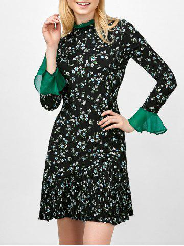Shops Flare Sleeve Floral Print Ruffle Pleated Dress - XL BLACK Mobile