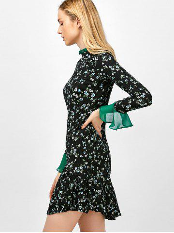 Outfit Flare Sleeve Floral Print Ruffle Pleated Dress - XL BLACK Mobile