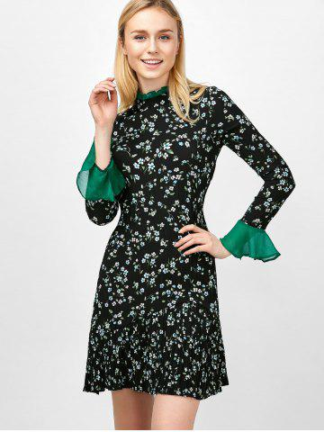 Chic Flare Sleeve Floral Print Ruffle Pleated Dress - XL BLACK Mobile