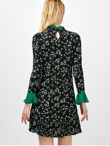 Discount Flare Sleeve Floral Print Ruffle Pleated Dress - XL BLACK Mobile