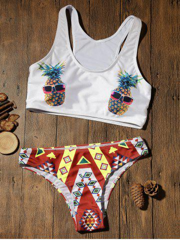 Store Crop Top Bikini with Pineapple Print - XL COLORMIX Mobile
