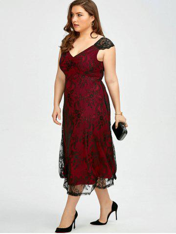 Hot Vintage Plus Size Lace Prom Formal Evening Dress - 5XL DEEP RED Mobile