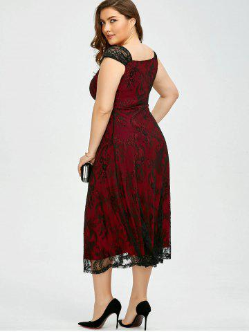 Fashion Vintage Plus Size Lace Prom Formal Evening Dress - 5XL DEEP RED Mobile