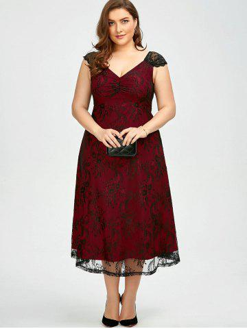 Buy Vintage Plus Size Lace Prom Formal Evening Dress - 5XL DEEP RED Mobile