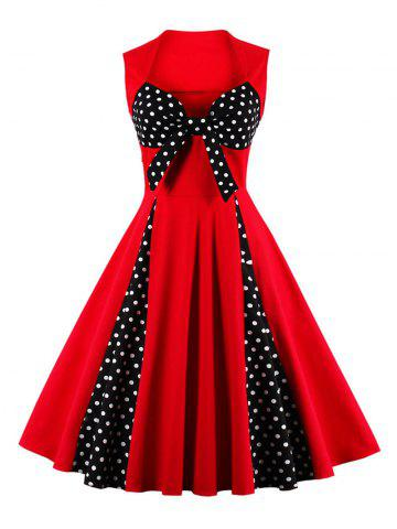 Online Vintage Polka Dot Bowknot Flare Dress - S RED Mobile