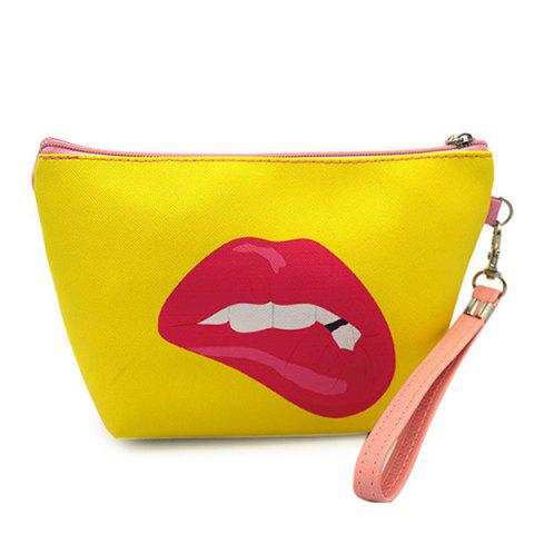 Online Funny Printed Wristlet Clutch Bag YELLOW