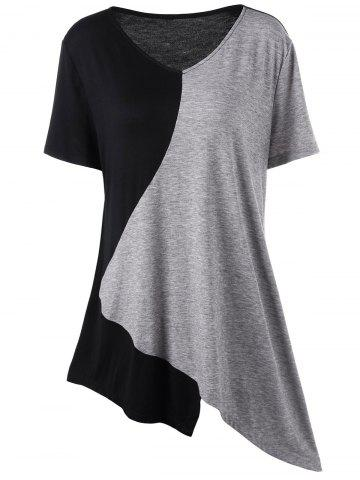 Buy Asymmetrical Color Block Plus Size Long T-Shirt - 3XL BLACK AND GREY Mobile