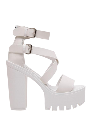 Chic Double Buckle Strap Zipper Sandals WHITE 38