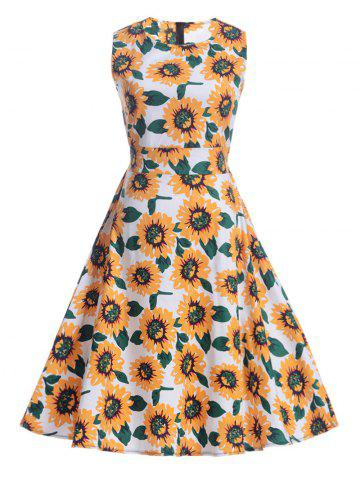 Fancy Sunflower Print Self-Tie Vintage Tea Dress - L WHITE Mobile