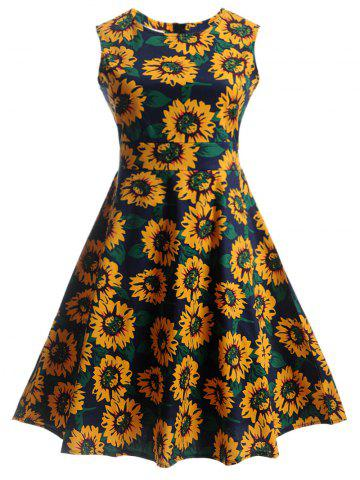 Latest Sunflower Print Self-Tie Vintage Tea Dress BLUE L
